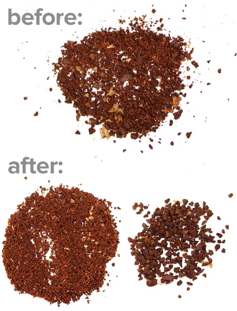 Image of coffee grounds before and after sieving