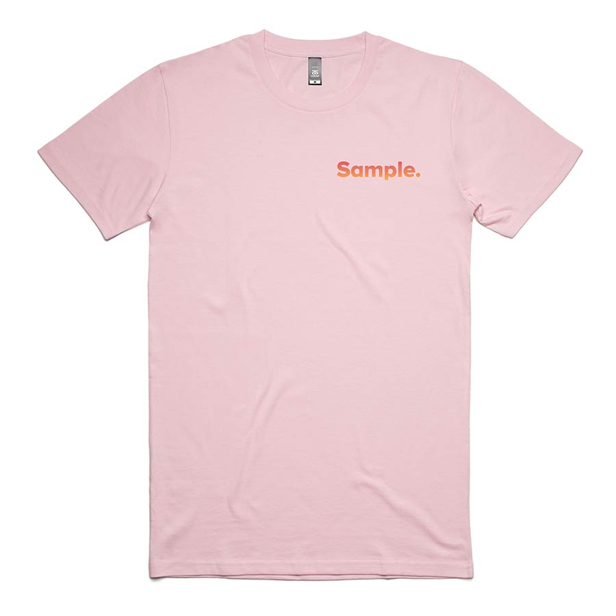t-shirt front, with coloured Sample logo